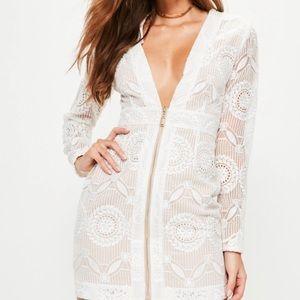 Plunging neckline zip through bodycon dress